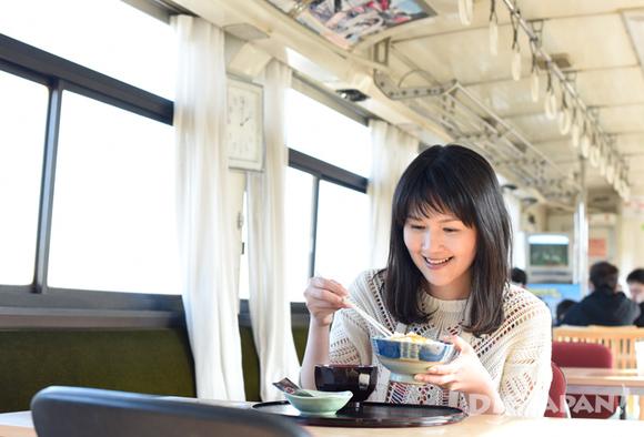 Eating lunch inside a train car turned café