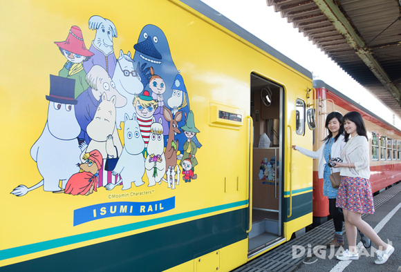 Boarding the Moomin train and starting the trip