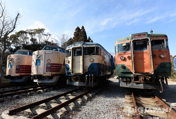 Old trains lined up inside Poppo No Oka Park