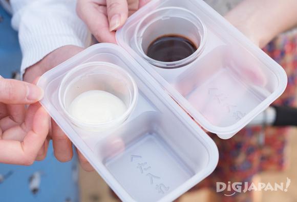 練乳とチョコレートソース