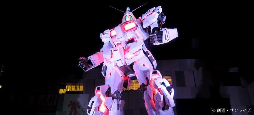 实物大机动战士高达独角兽立像自带变形灯光秀
