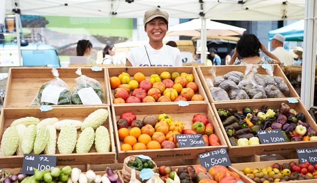 A vendor at the Farmer's Market in Aoyama
