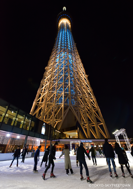 At night you can skate with the lit up Skytree in the background.