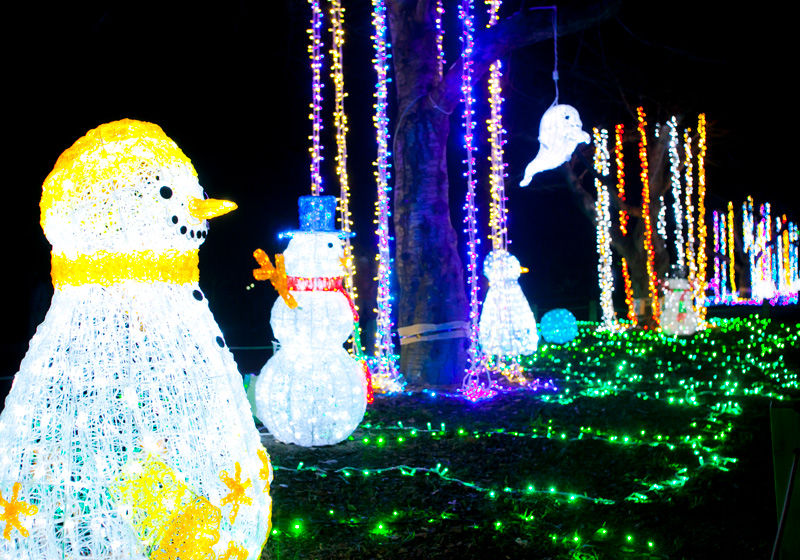 Cute snowmen made of lights