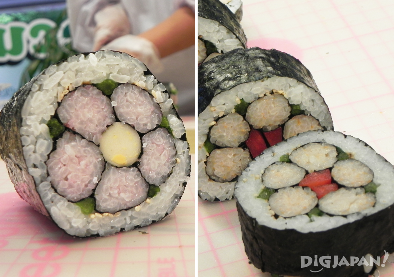 Veggie and regular sushi rolls