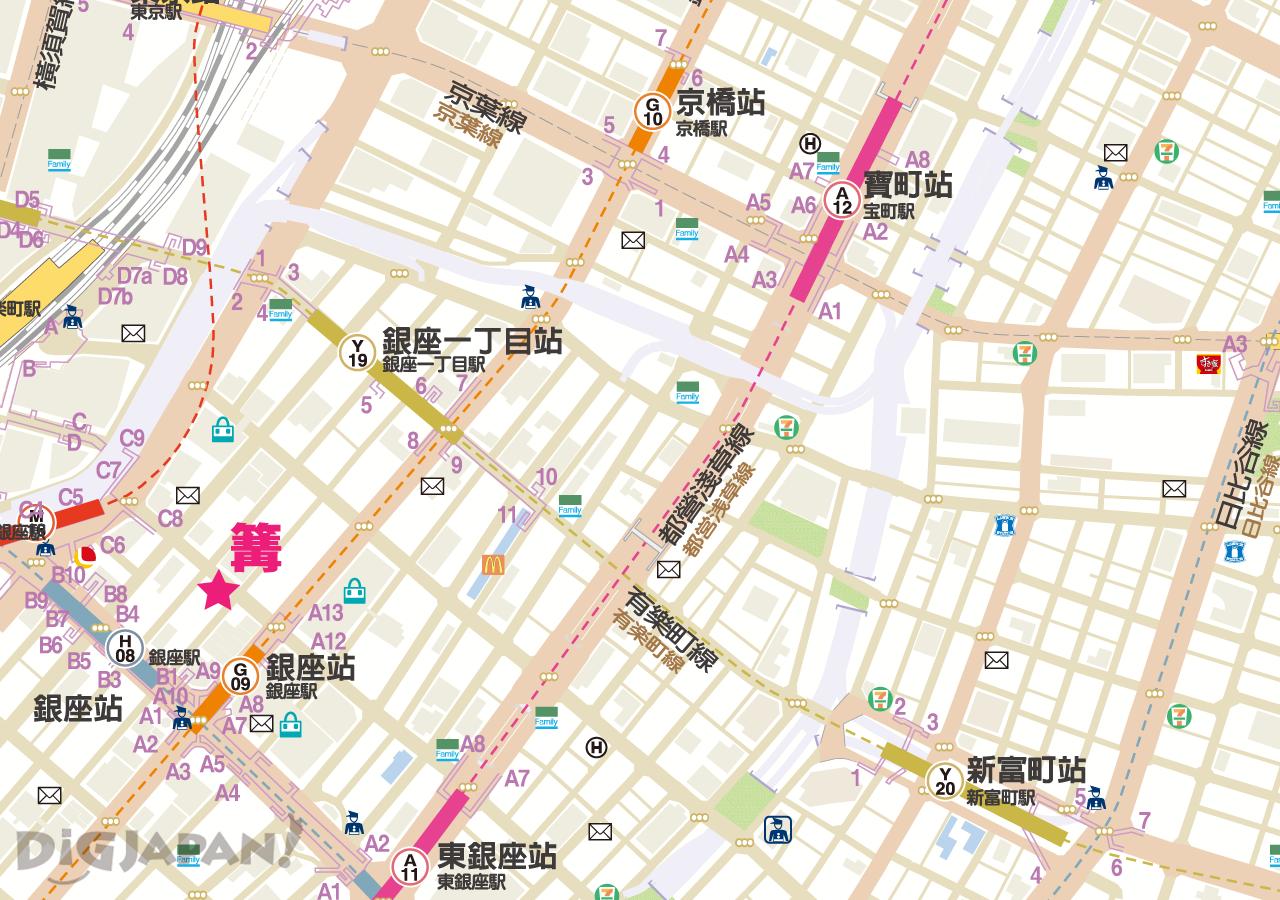 銀座 篝 -地圖