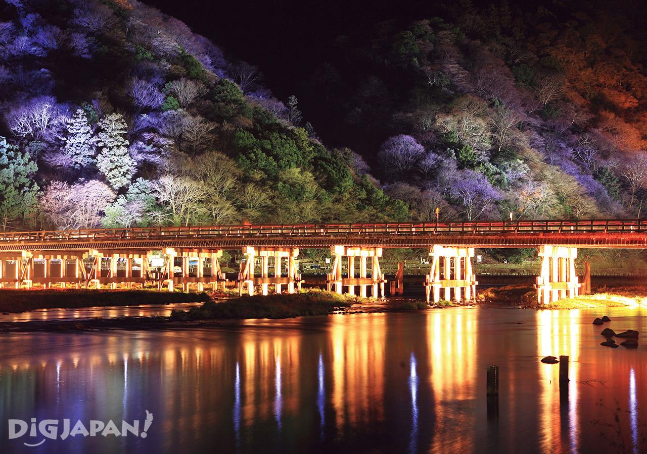 渡月橋、嵐山-夜間點燈