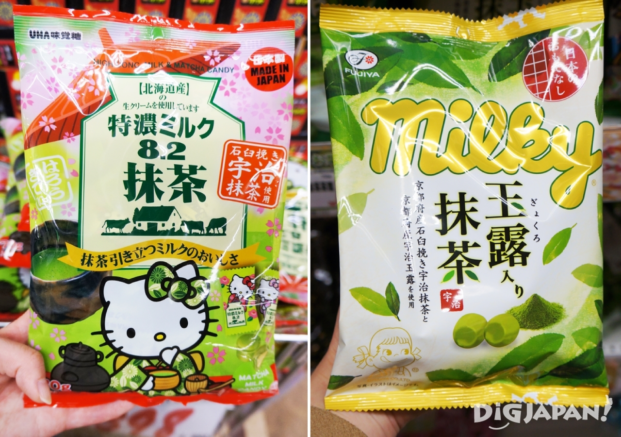 9. 右:Milky玉露入り抹茶/左:特濃ミルク8.2抹茶(抹茶牛奶糖)