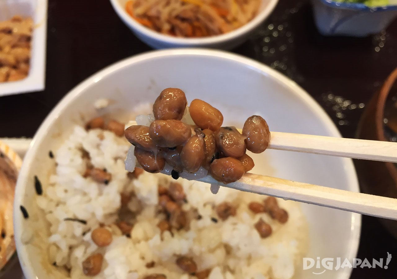Natto and rice at Sendai-ya in Tokyo