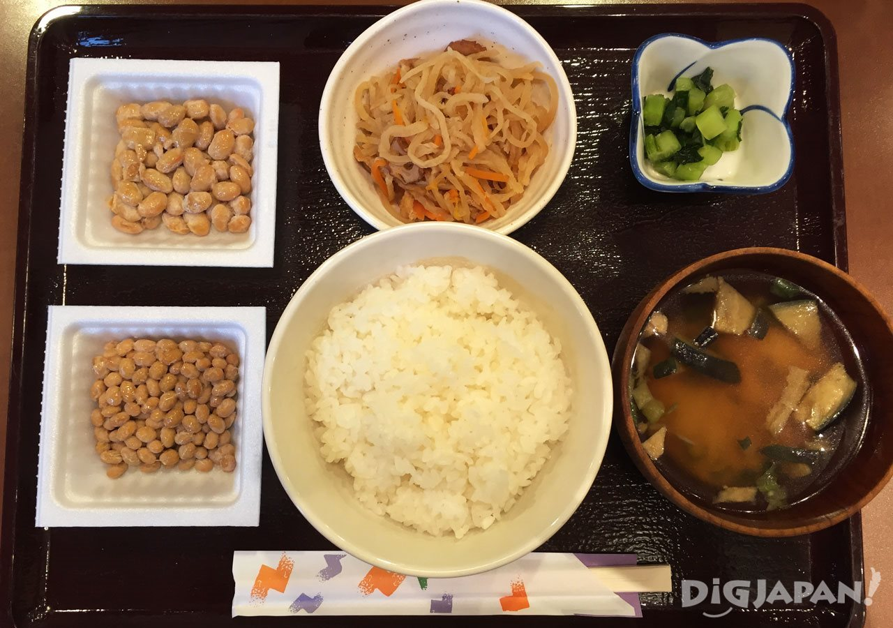 The all-you-can-eat natto set at Sendai-ya in Tokyo