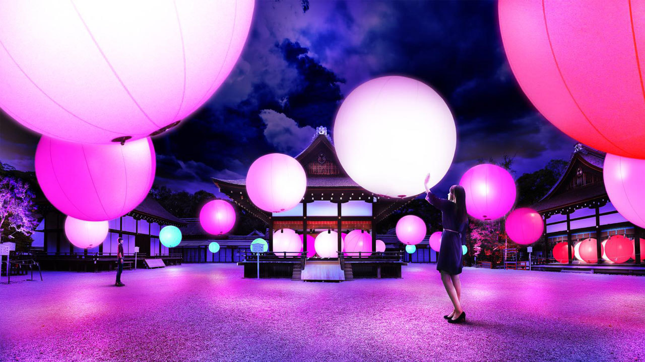 Resonating Spheres Sakura Gate Shimogamo Shrine Kyoto teamLab