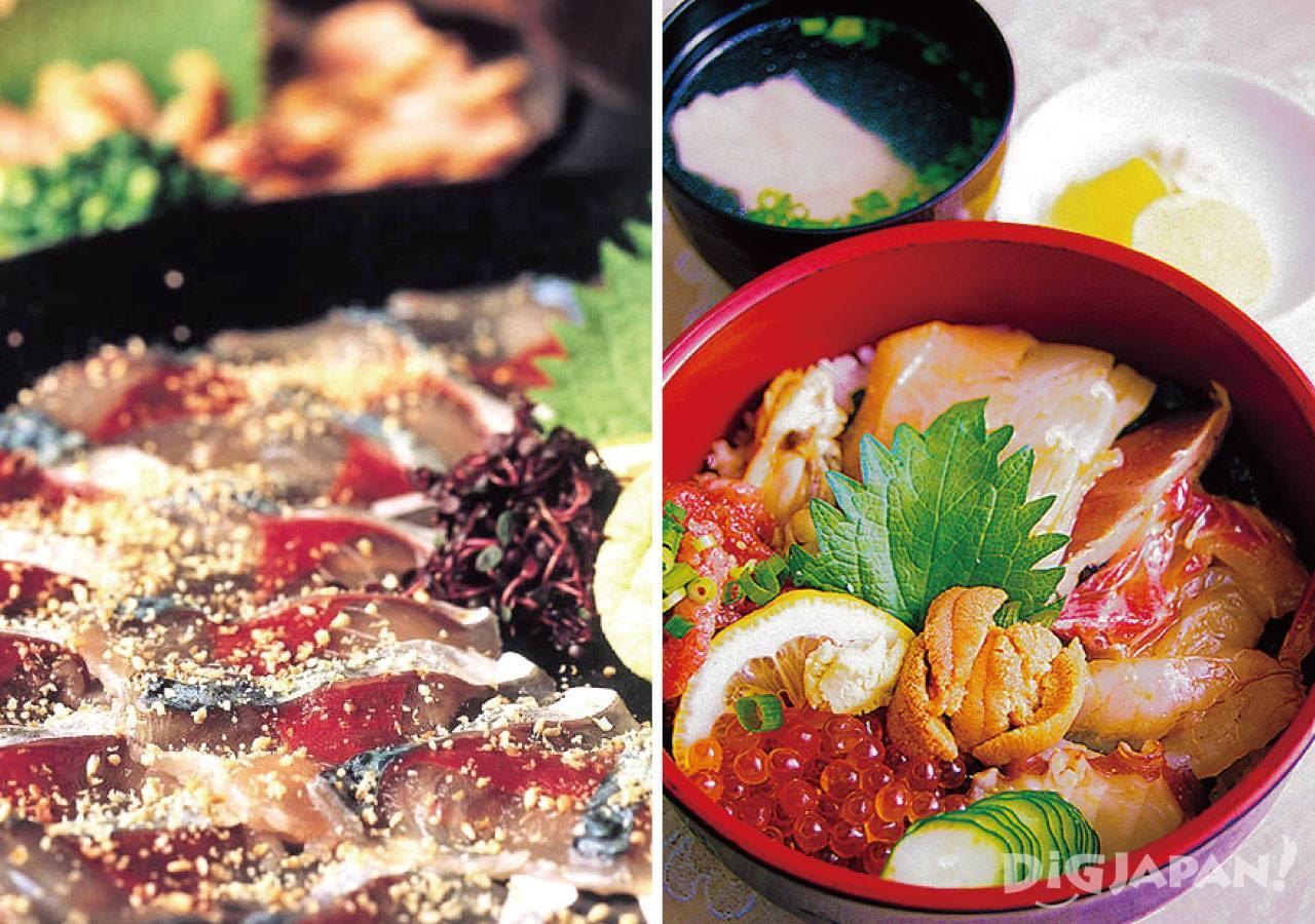 참기름에 고등어회를 버무린 고마사바와 일본식 해산물 덮밥인 카이센동