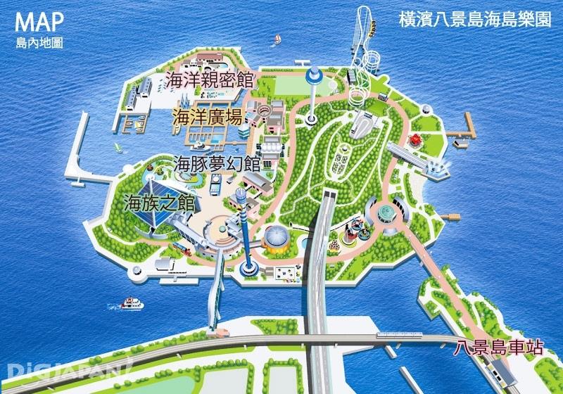 橫濱八景島海島樂園島內地圖