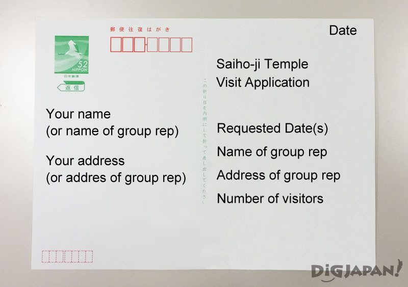 How to fill out an oufuku return post card for Saiho-ji
