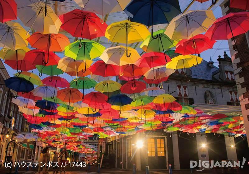 Huis Ten Bosch_Umbrella Street กลางคืน2