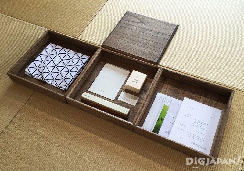amenity box inside the room of yanesen hotel hanare