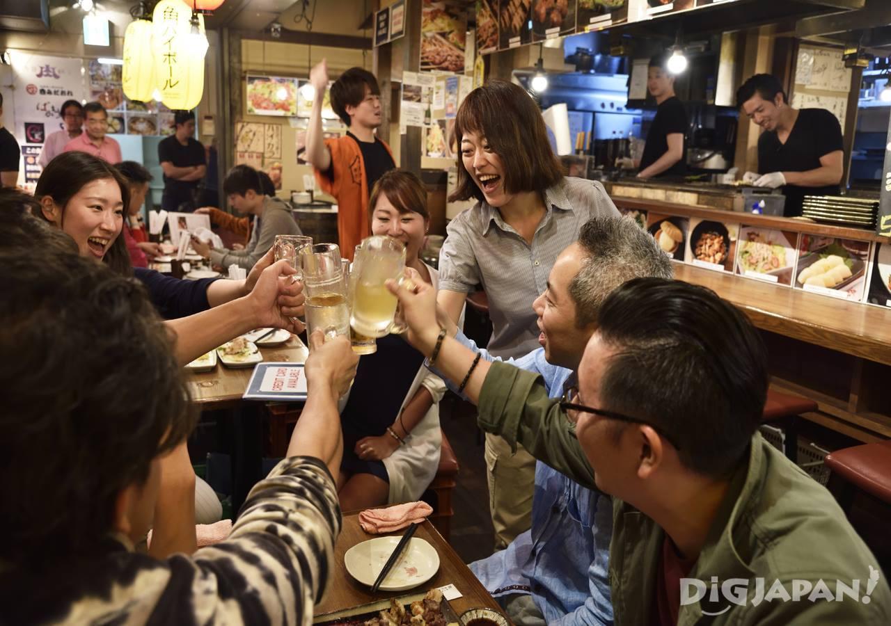 Toasting a fun time at Niku Yokocho in Shibuya