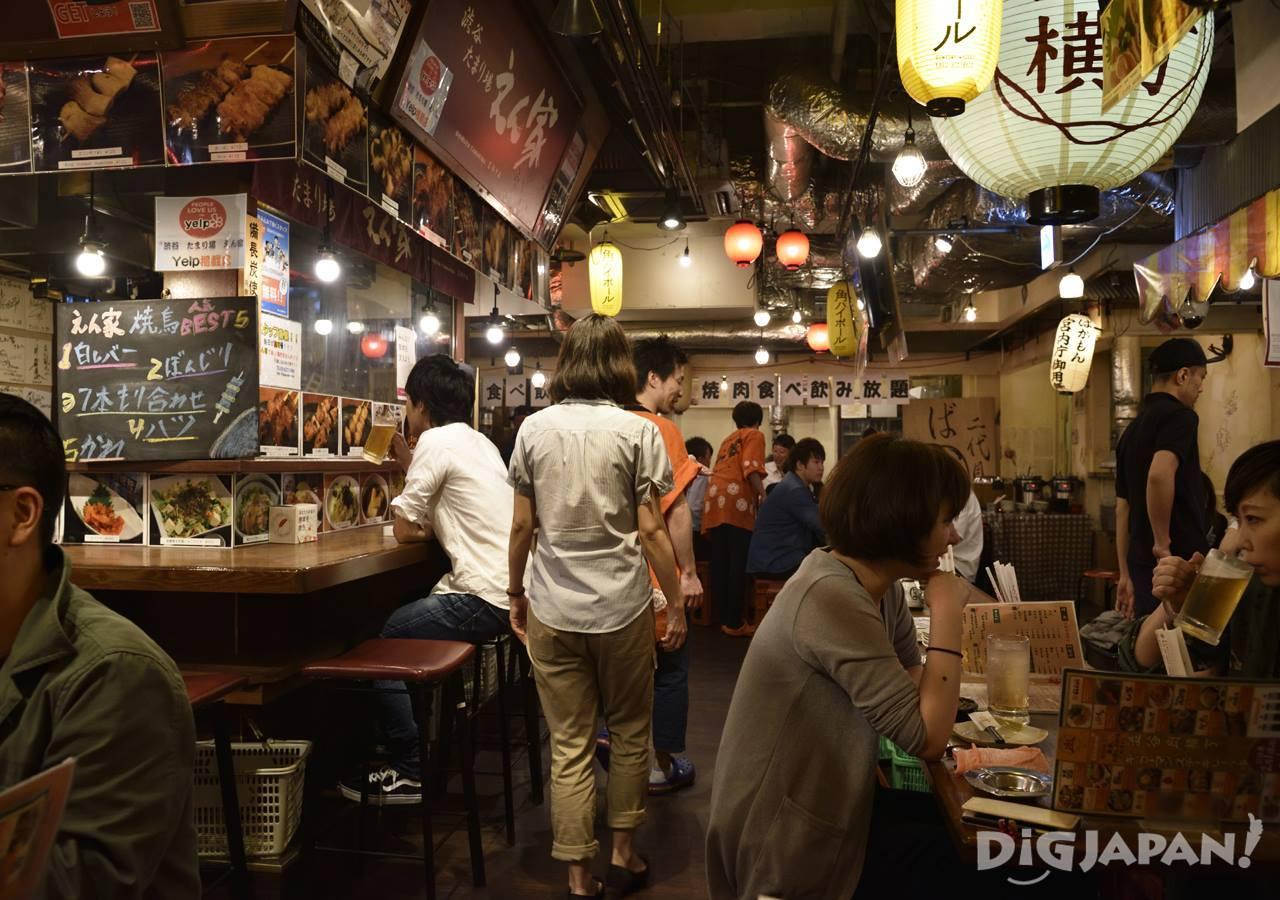 Inside Niku Yokocho in Shibuya