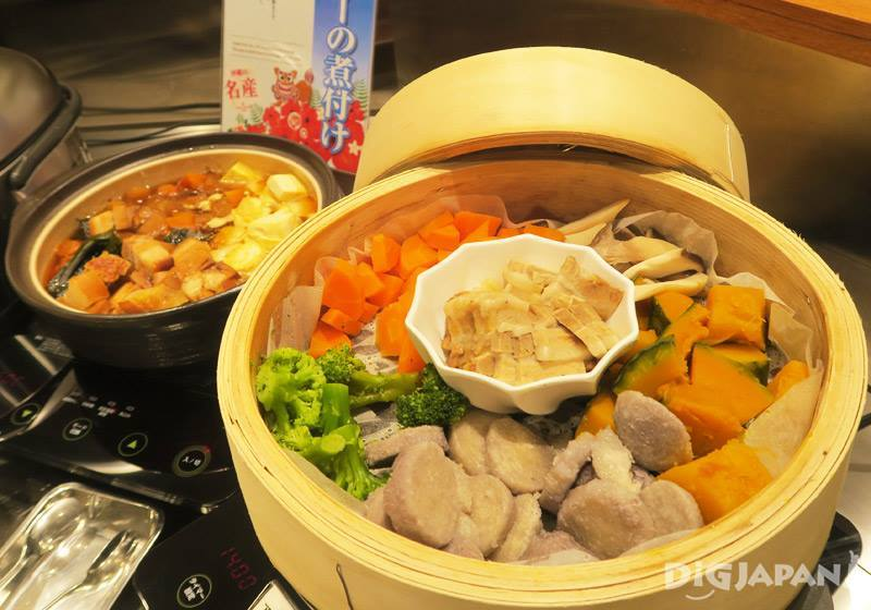 The breakfast buffet at Hotel Gracery Naha features authentic Okinawa cuisine.
