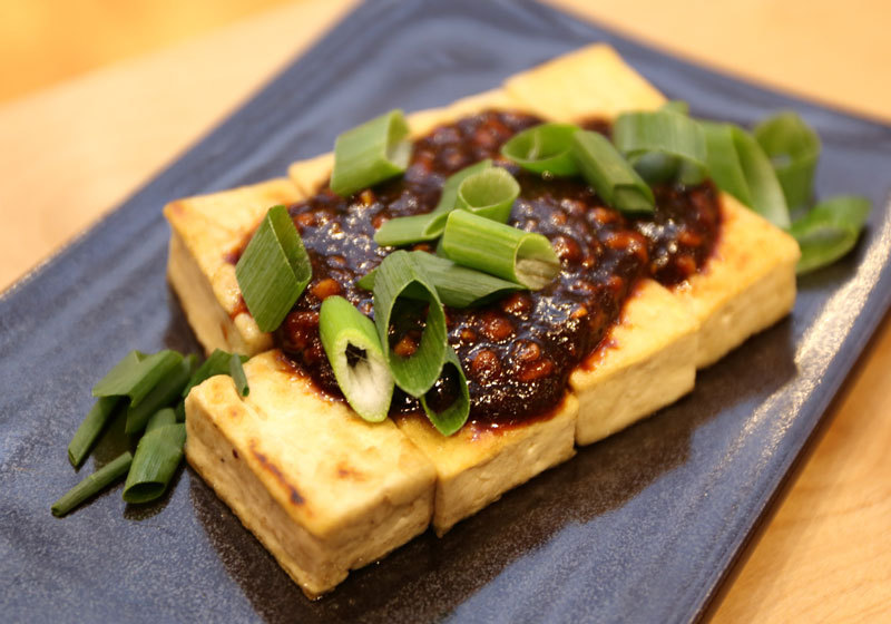 One of the dishes served at Tofu-no-Futaba in Tokyo