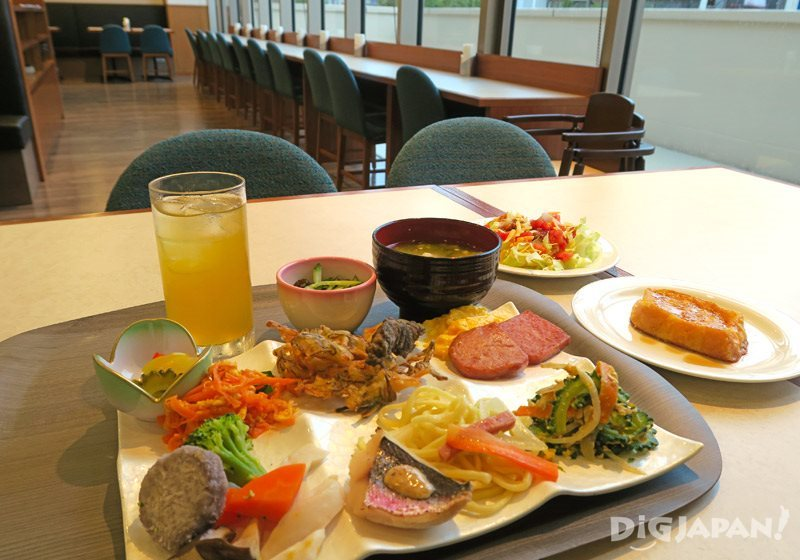 A delicious breakfast of Okinawan foods at Hotel Gracery Naha