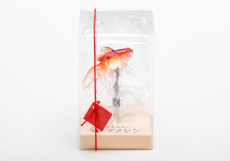 Goldfish amezaiku candy art by Ameshin in Asakusa, Tokyo