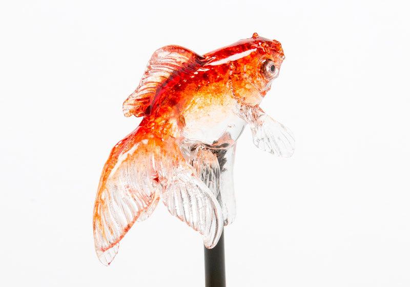 Beautiful goldfish amezaiku candy art by Ameshin in Asakusa, Tokyo