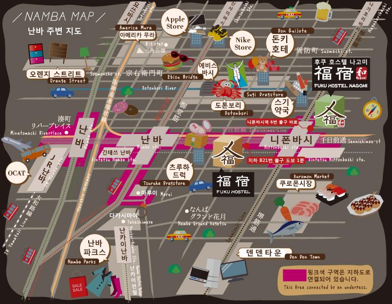 오사카 추천 게스트하우스 지도
