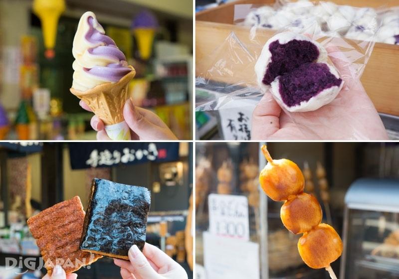 番薯紫芋霜淇淋、紫芋鰻頭、仙貝、味噌糯米糰子