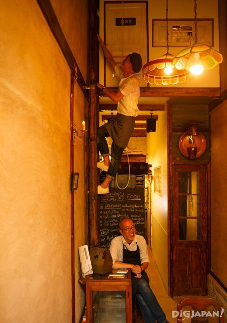 Shop owners Takamura and Marushima. These two have included many playful touches in their store.