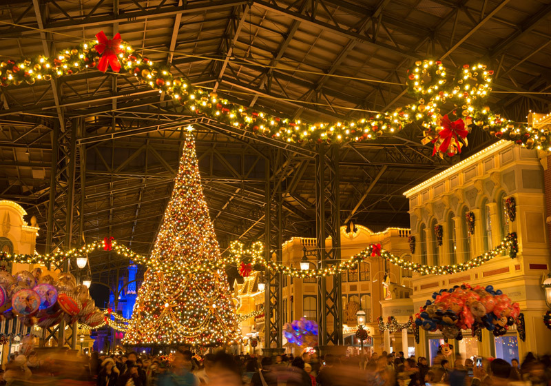 Christmas decorations at the world bazaar at Tokyo Disneyland