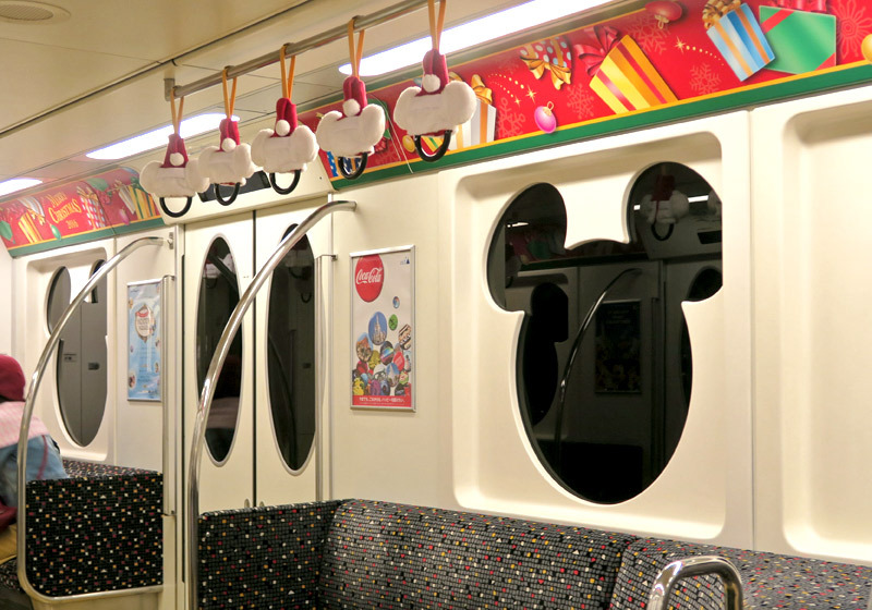 Decorations inside the trains on the Tokyo Resort Line