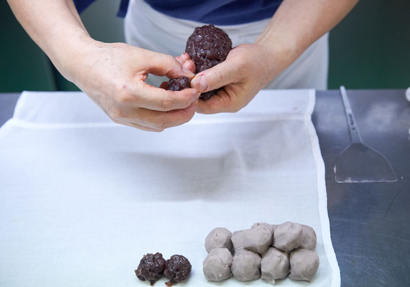 Making wagashi from red bean paste