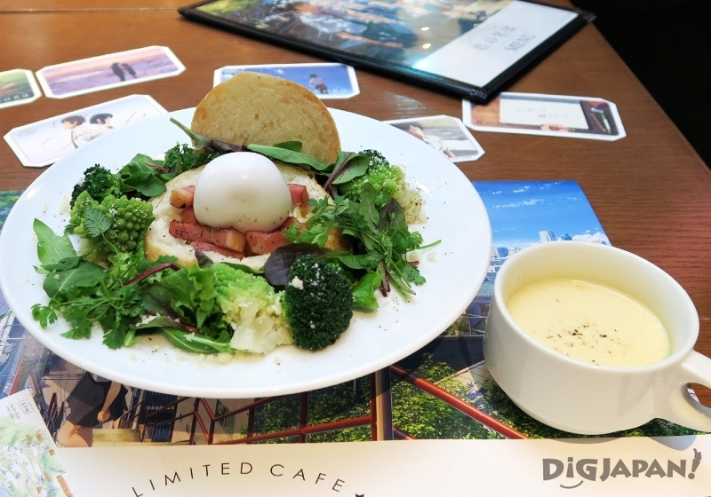 """Feel the History of Itomori"" Lake Itomori Bread Bowl with storyboard image card from the Kimi No Na Wa Yor Name Cafe"