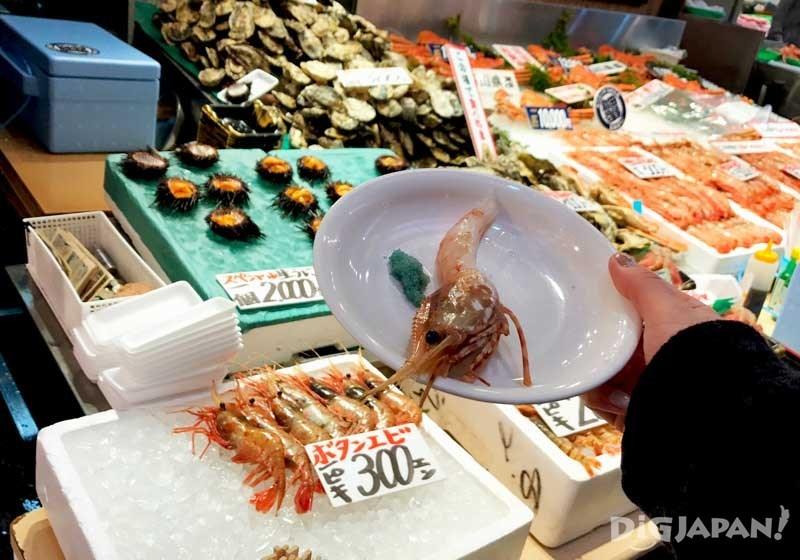 当场可食的牡丹虾