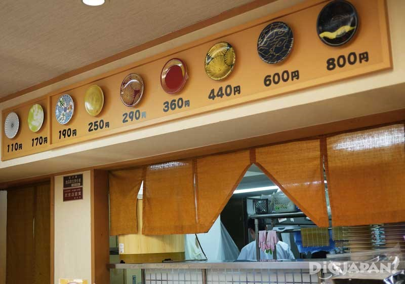 迴轉壽司按盤子顏色收費貼在牆上一目了然