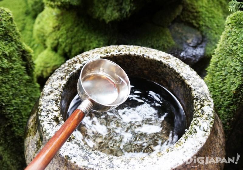 拿起勺子舀水淋在水掛不動明王或童子的身上