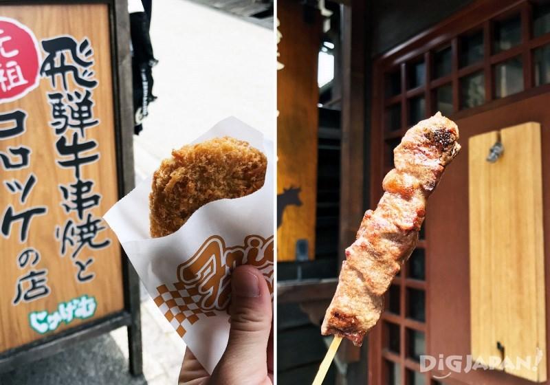 Original Hida Beef Croquette 200 yen, Original Hida Beef grilled skewer 800 yen