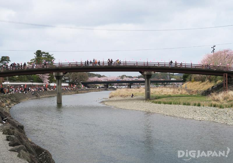 The Isuzugawa river, which flows behind Oharaimachi Street, is a cherry blossom sightseeing spot