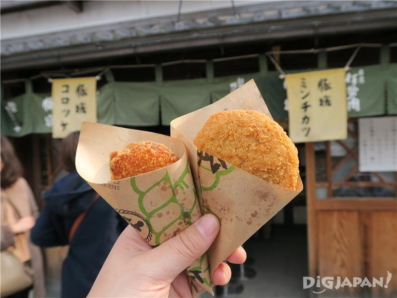 From left: Croquette 100 yen, fried mince cutlet 150 yen