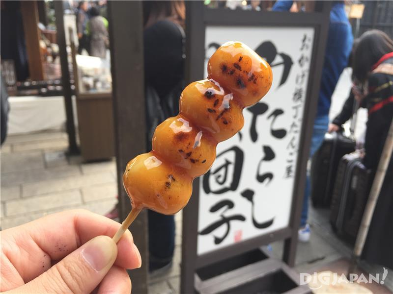 Mitarashi dango flavored with sweet soy are popular