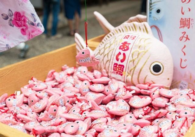 在一池粉紅色的良緣小鯛魚(川越冰川神社)