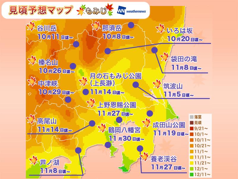 紅葉人気エリア:関東の見頃予想(もみじ)