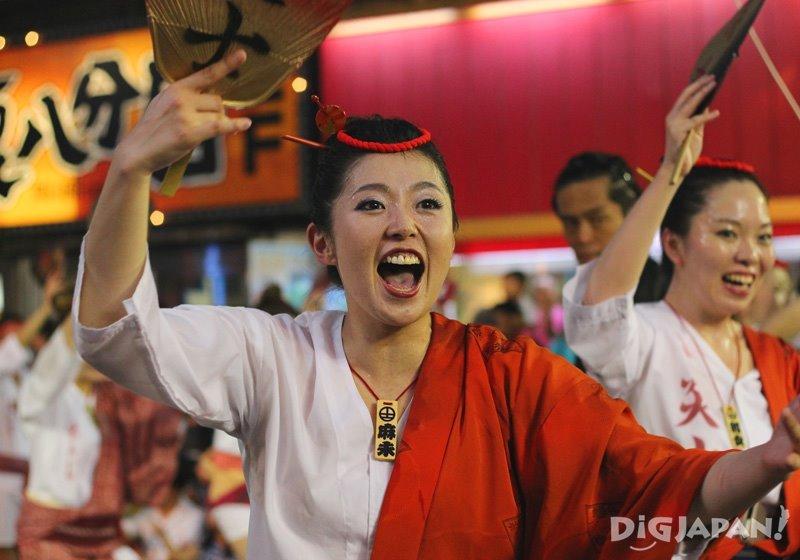 Dancer with fan - Tokyo Koenji Awa Odori 2017