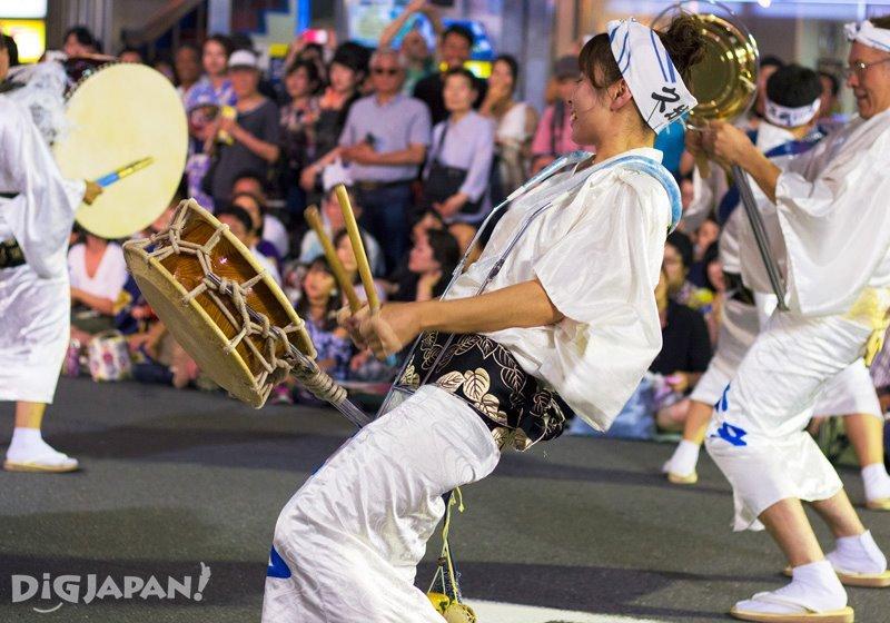Shime-daiko drum player - Tokyo Koenji Awa Odori festival