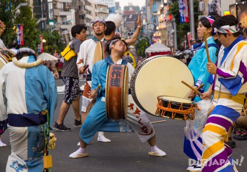 O-daiko drum players - Tokyo Koenji Awa Odori festival