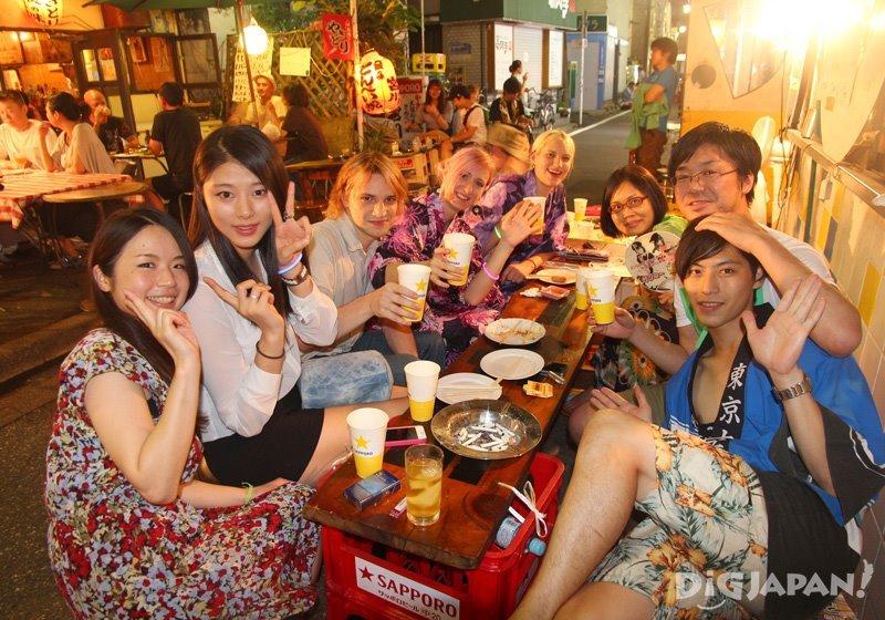 Drinking at izakaya - Tokyo Koenji Awa Odori festival