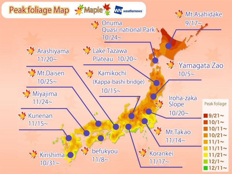 ใบไม้เปลี่ยนสีทั่วประเทศญี่ปุ่น : พยากรณ์ดู`ใบเมเปิ้ล`เปลี่ยนสีตามสถานที่ต่างๆ