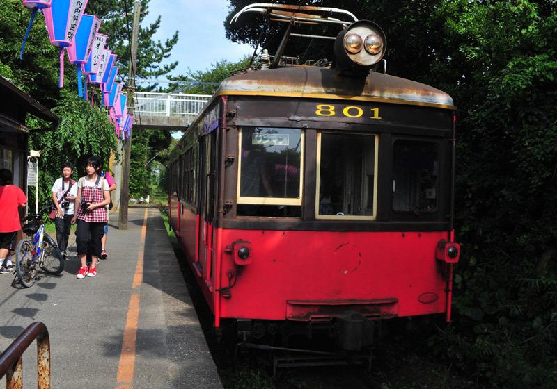 "Retro train car ""Deha 801"" on display at Choshi Dentetsu's Tokawa Station."