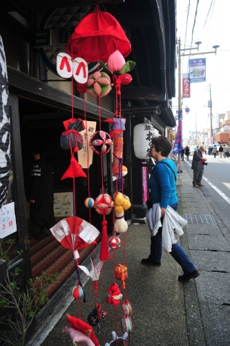 Hina dolls adorn the front of local shops